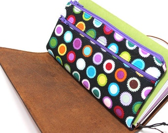 Zippered Insert for Midori Travelers Notebook, Standard Size, Personal Size, Passport Size, Micro Size - Colorful Pop Caps on Black