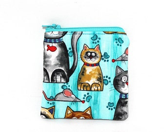 Pocket Zipper Case, Change Purse, Card Case, Coin Purse, Big Eyed Cats on Turquoise 8759