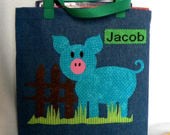 Pig Farm Animal Kid Tote Bag|Personalized Tote Bag|Preschool Bag|Toddler Bag|Children Book Bag|Easter Gift Bag|Kids Gift Bag|Denim Tote Bag