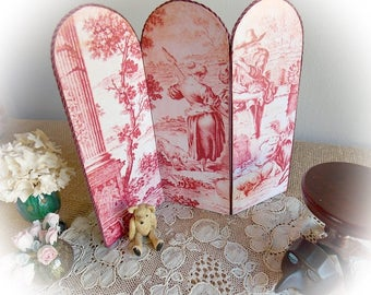 Spring Sale...Dolls' House Miniature Folding Screen or Room Divider...Toile de Jouy...3 Panels... 1:12 Scale Prototype