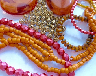 Mix of Assorted Vintage and New Beads to Play With - Orange Tones OOAK  (OGP)