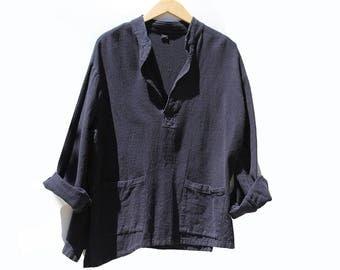 Vintage Navy Blue Oversized Cotton Top