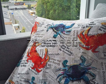 CRAB NEWSPRINT News Red White Blue Quilt Fabric - by the Yard, Half Yard, or Fat Quarter Fq Crab Shack