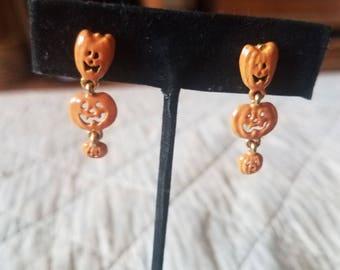 Pumpkin Jaco-o-Lantern Halloween Dangle Earrings