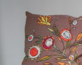 Vintage needlepoint pillows floral brown yellow orange yellow white -  1960s mod - psychedelic  style reverse is brown satin