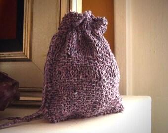 Earthy rune bag / rune pouch / crystal pouch / dice bag / knit dice pouch / elder futhark runes / purple rune bag / drawstring rune bag