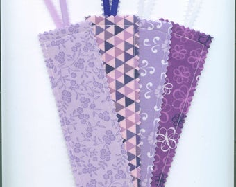 Handmade Fabric Bookmark, Set of 4, LAVENDERS, Book Accessory, Teacher Gift. Small Gift, Bookmark w/Ribbon, Stocking  Stuffer