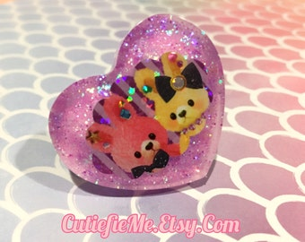 Kawaii Bunnies Purple Glitter Resin Heart Ring