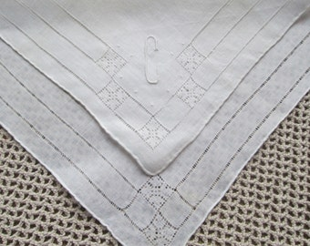 Vintage Bridal Handkerchief Monogram C Initial White Linen Lace Monogrammed Antique Hankie Hand Embroidered Hand Rolled Personalized Wedding