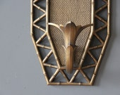 Gold Faux Bamboo Sconces, Pair