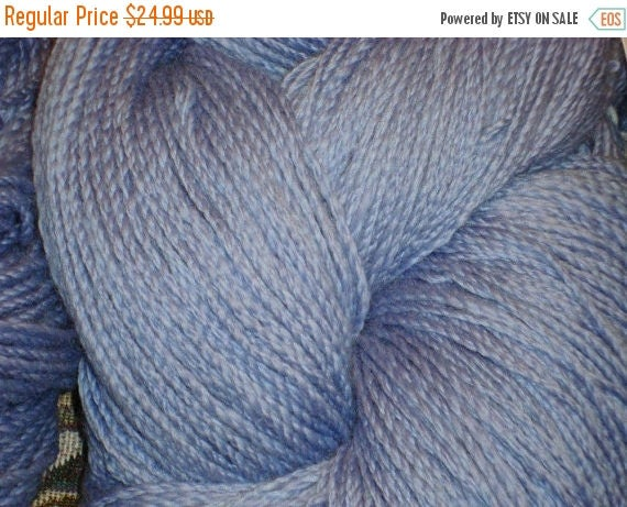 SALE Handspun Yarn Superwash 270 yd Powder Blue Wool 4 py cabled yarn Sport Weight