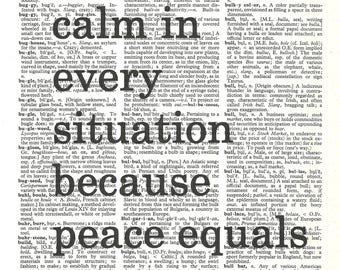 Remain calm in every situation because peace equals Power--Vintage Dictionary Art Print---Fits 8x10 Mat or Frame