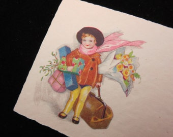 1920s Christmas Card - Joyeux Noel, French, Small, Child Little Girl Shopping