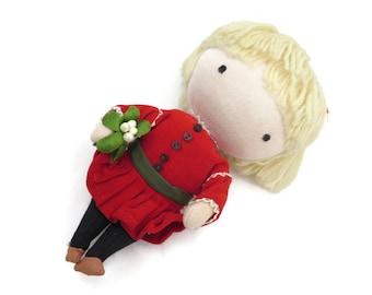 Joan Walsh Anglund Doll - 1969s Pocket Doll, Christmas, Red Velvet Dress, Mistletoe