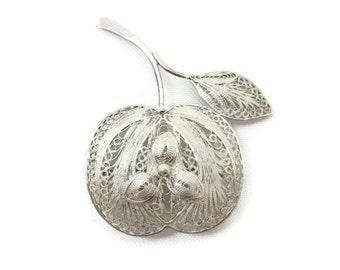 Silver Filigree Brooch - Apple, Sterling Silver