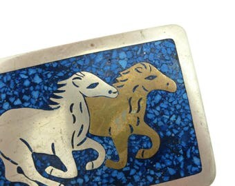 Alpaca Silver Horse Buckle - Faux Turquoise Equestrian Western Belt Buckle, Mexico Mixed Metals