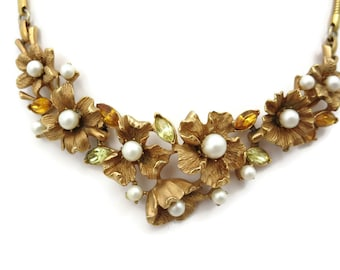 Gold Flower Necklace - Rhinestones, Faux Pearls, Coro, Costume Jewelry