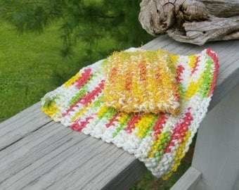 Crochet Natural All Cotton Dish Cloth with Crochet Scrubby