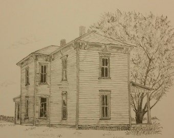 "Graphite Print, Coatesville, Indiana abandoned farm home, 5""x7"" matted print"