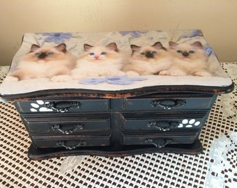 Cat, Jewelry box, Siamese kitten,  upcycled