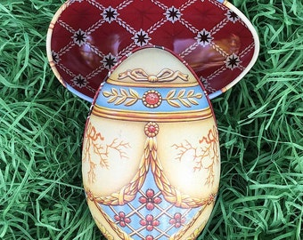 "Tin Egg Pastel Trompe-l'œil  Faberge Egg Metal Easter Tin ~ 4-1/4"" tall ~ Old Store Stock TEG-IM2-20"