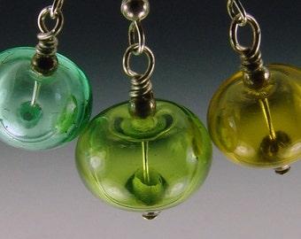 Shades of Green Hollow Lampwork Bead Earrings