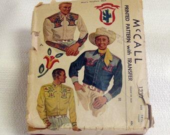 Western Shirt Pattern - 1947  McCall Pattern - Complete