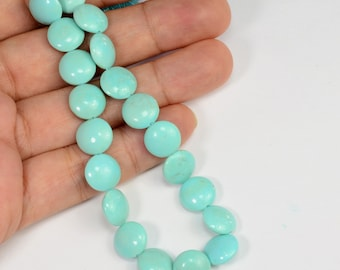 "10mm Baby Blue Sleeping Beauty Turquoise Smooth Coin Briolette 8"" Strand"
