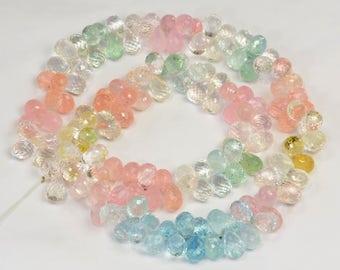 "Aquamarine Morganite Heliodor Beryl Faceted Teardrop Briolette Beads 18"" str"