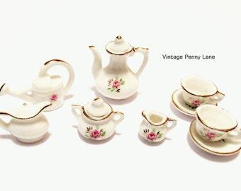 Mini Vintage Porcelain Tea Set, Pink Rose Floral