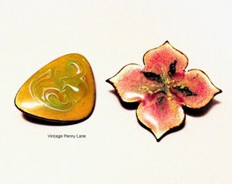 Vintage Handmade Brooches, Enamel Copper Pins