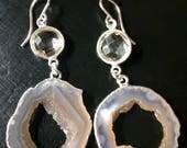 Custom for Ellie's Wedding Brown Ocho Geode Quartz Druzy Earrings Agate Silver Geode Earrings One of a Kind Raw Stone AS-E-106-Ocho-Brn-022s
