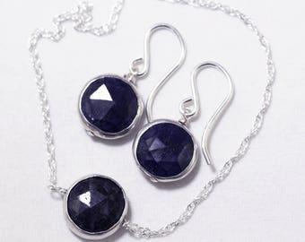 Genuine Sapphire 2-piece SET Adjustable Sapphire Necklace Sapphire Earrings September Birthstone Precious Sapphire BZ-SET-105A.2-Sapph/s