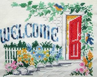 Vintage 1940's  Welcome Needlework on Linen, Welcome Word with Red Doorway, Garden, Flowers, Bluebird, Wall Decor, Cottage Decor, Needlework