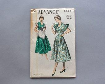 Vintage Uncut Advance Pattern 5551 / 1950s Dress Pattern with Matching Apron / 50s Factory Fold Pinafore Sweetheart Dress waist 26 size 14