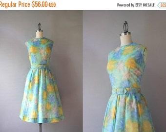 STOREWIDE SALE Vintage Dress / 1960s Sheer Floral Dress / 60s Golden Floral Pleated Day Dress