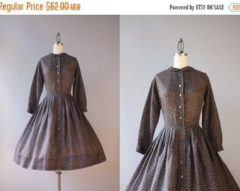 STOREWIDE SALE Vintage 50s Dress / 1950s Sheer Day Dress / 50s Full Pleated Skirt Button Down Day Dress
