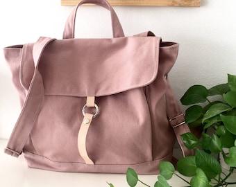 Pale Pink Tanya  Unisex Canvas backpack / Satchel Rucksack / Laptop bag / Tote / Women / Unisex /back to School bag- Sale Sale Sale 30% off