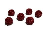 Dark Red beaded beads handmade 10mm beads 6pcs