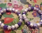 Two white lilac and purple star bead bracelets kawaii kandi rave