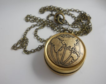 Compass Necklace Women's Necklace Working Vintage Reversible Brass Chain European Map Travel Gift Direction Traveler's Africa Europe Asia