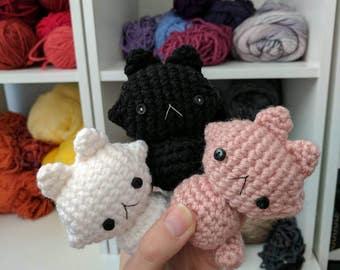 Kawaii adorable kitty cat Neko crochet plushie amigurumi stuffed animal black white pink