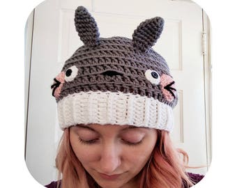 totoro hat - slouchy grey totoro inspired beanie hat -  anime hat - pompom hat- vegan hat - gifts for teens - winter hat - slouchy beanie