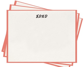 Letterpress 'XOXO' Flat Note Cards - Set of 8