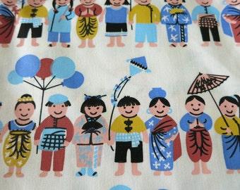SMALL WORLD Kids Mini - hand-printed cotton fabric - half yard