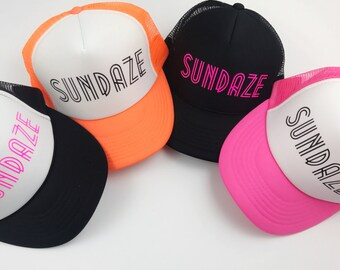 Neon Trucker Hat, Summer Hats, Sundaze Hat, Sundaze, Neon Pink, Black Trucker Hat, Black Hat, Summer, Orange, Neon Hats, Women's Trucker Hat