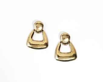 1970's Bold Funky Gold Geometric Stud Earrings
