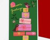 Robins Christmas / Holiday card set - free shipping for 3+ packs