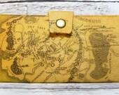 Handmade  Long fandom geek Wallet  BiFold Clutch -Vegan Wallet - LOTR map of Middle Earth