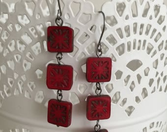 Red Tile Earrings